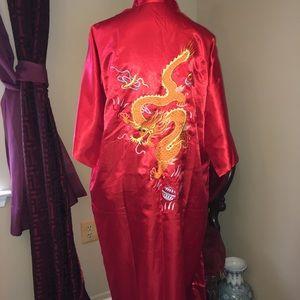 Vintage golden dragon satan embroidered satin